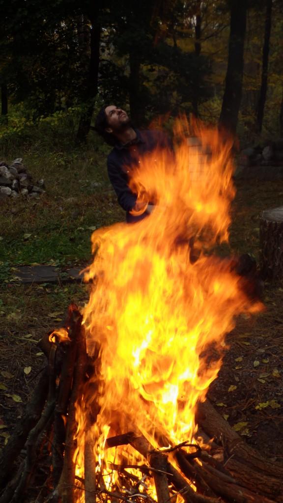 Fire wizard casting spells.